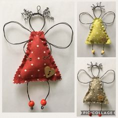 Christmas Angel Crafts, Easy Christmas Ornaments, Christmas Art, Handmade Christmas, Holiday Crafts, Christmas Decorations, Wire Crafts, Winter, Projects