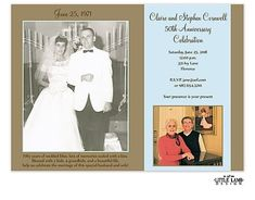 anniversary party invitations with pics of couple at their wedding and after 50 years of marriage Anniversary Party Invitations, Photo Invitations, 50th Wedding Anniversary, Anniversary Parties, Invitation Design, Couple Pictures, Marriage, Cards, Fun