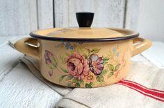 Vintage French Enamelware Floral Enamel by shabbyfrenchvintage