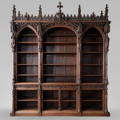 A large neo-Gothic oak library that once belonged to Abbé Cochet - Bookcases, desks, Vitrines . Victorian Furniture, Antique Furniture, Gothic Interior, Interior Design, Furniture Styles, Furniture Design, Garden Furniture, Nice Furniture, Furniture Movers
