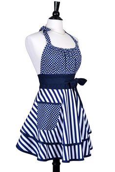 Flirty Chic Retro Apron Womens Sexy Nautical Navy Blue White