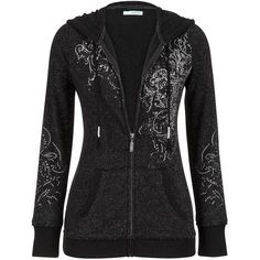 maurices Graphic Zip Up Hoodie With Rhinestone Embellishments ($44) ❤ liked on Polyvore featuring tops, hoodies, black, graphic hoodies, maurices, cotton hooded sweatshirt, zip up hooded sweatshirt and cotton hoodie