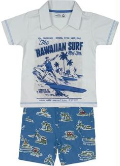 a92b22077 CONJUNTO AZUL HAVAIAN SURFER Conjunto Marisol contendo Camisa Polo em meia  malha, peitilho em modelagem