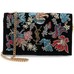 Saint Laurent Monogram Sequin Flower Rock Flap Wallet-on-a-Chain (19 415 SEK) ❤ liked on Polyvore featuring bags, black multi, floral print bags, chain shoulder bag, chain bag, sequin bag and floral bag
