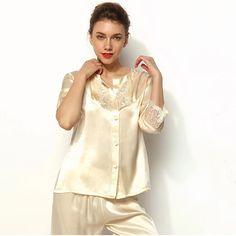 Lace Trimmed Champagne Silk Pyjama Set Silk Sleepwear, Silk Pajamas, Gorgeous Fabrics, Pajama Set, Lace Trim, Champagne, Blouse, Tops, Women