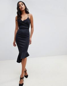Find the best selection of ASOS DESIGN scuba cami pephem midi dress. Shop today with free delivery and returns (Ts&Cs apply) with ASOS! Black Midi Dress Outfit, Black Strapless Dress, Dress Outfits, Fashion Dresses, Cocktail Dresses With Sleeves, Style Noir, Plain Dress, Robes Midi, Moda Online