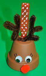 Mini Flower Pot Rudolph | AllFreeHolidayCrafts.com