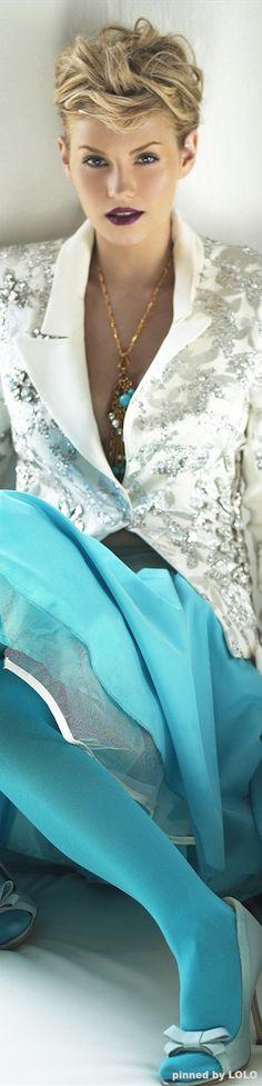 Elisha Cutberth ~ White Beaded Jacket w Turquoise Maxi Skirt