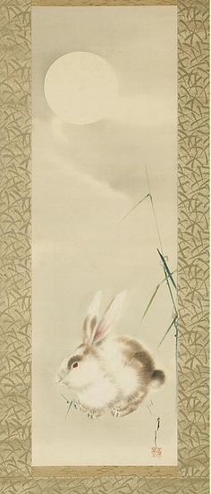 """Rabbit and Moon. Watanabe Shotei (Collection Asian Art Museum)   Instead of the """" man in the moon,""""  Here, the Japanese artist depicts a rabbit in front  of a full white moon shining in a cloudy night sky. The sparse stalks of  grass also hint that cooler weather has arrived."""