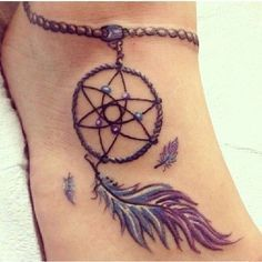 Dream Catcher Foot Tattoo Design with a Chain on Ankle.