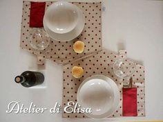 Tovaglietta americana a forma di casetta! / House placemat!: in versione pois rosso su tela grezza di cotone con in contrasto cotonina rossa ... gnam gnam!!!