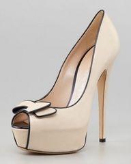 beige peep-toe pumps