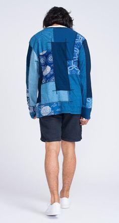 Junya Watanabe Comme des Garçons MAN - SS15 Indigo Collection - Patchwork Cardigan Indigo - Adidas Stan Smith Shoes - Barena Navy Linen Short Rio - Gentry NYC - Model Nikos Urban