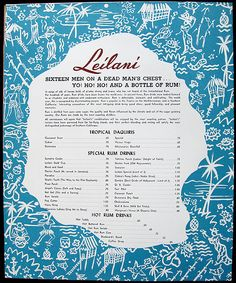Leilani Hut, Belmont Shore (Long Beach), CA (restaurant) - Tiki Central Tiki Hut, Tiki Tiki, Belmont Shore, Vintage Menu, Cocktails, Drinks, Long Beach, Rum, Tiki Bars