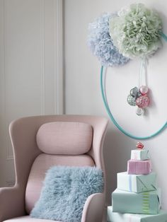 If you're lucky enough to have the Eero Saarinen Womb Chair (a design classic) in pastel pink, then why wouldn't you design your entire Christmas scheme around it!? Soft, chalky pastels are much more sophisticated than baby hues, and be sure to mix blues and greens with pink to keep the look grown up. Image: Livingetc