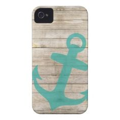 Girly Nautical Anchor and Wood Look iPhone 4 Case