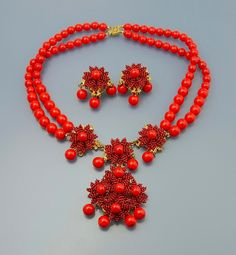 c.1970s vibrant red vintage Stanley Hagler necklace and earring suite. photographaed by Scarab Antiques. www.scarabantiques.com