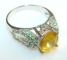 Beautiful Genuine AAA Citrine Silver ring s. 7 1/2