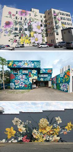 That middle mural 😍😍 Murals Street Art, Graffiti Murals, Graffiti Flowers, Art Prompts, Colossal Art, Mural Wall Art, Public Art, Artist Art, Sculpture Art
