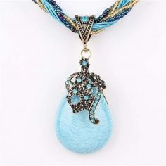 ZOSHI Vintage Natural Rhinestone Crystal Pendant  Necklace for Women