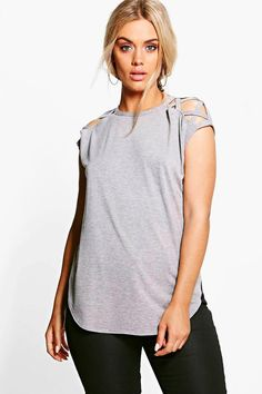 Plus Anya Lace Up Detail Shoulder Tee a29a6057e