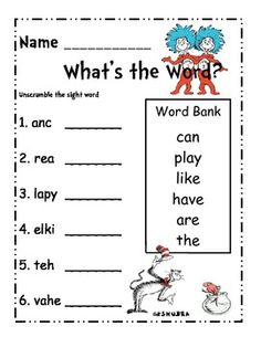 stamping sight worksheets word Seuss More Sight Dr.  Word Scramble