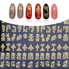 108pcs/sheet Hot Gold 3D Nail Art Stickers Decals - USD $ 4.99