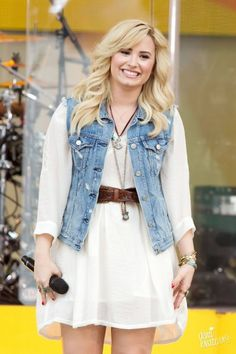 BoHo chic is always a winner for the Spring/Summer months. Especially when created with the staple #denim waistcoat! If you don't have one… GET ONE! They can be worn with absolutely anything. And I've you're stuck for ideas on how to wear it, take inspiration from this #Demi look and team it with a floaty day dress and a pair of #wedges for fashionable comfort.