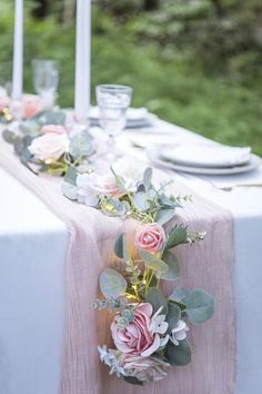 Flowy Chiffon Light Pink Table Runner erfect for rustic, organic wedding decorations.This can also be used for your sweetheart table, cake table, or head table centerpieces, ceremony flowers etc. Bridal Shower Decorations, Flower Decorations, Pink Table Decorations, Baby Shower Table Centerpieces, Centerpiece Ideas, Bridal Shower Tables, Summer Wedding Decorations, Centerpiece Flowers, Baby Shower Table Set Up