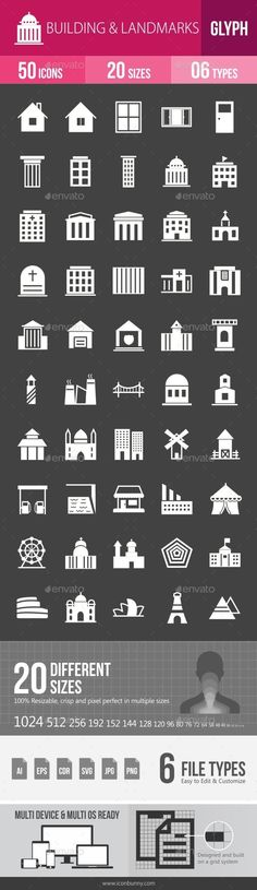 Buildings & Landmarks Glyph Inverted Icons