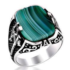 Square Striped Agate Stone Silver Men's Ring