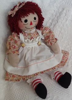 Handmade Raggedy Ann, coral and yellow floral print, cupcake buttons