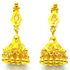 New Gold Earrings/Jhumki Handmade Glossy Finish 22k (916 Gold Pure) Bis Hallmark