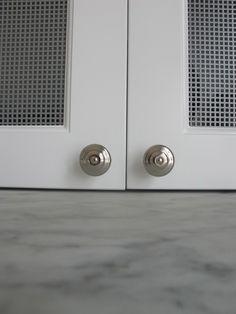 chicken wire cabinet detail