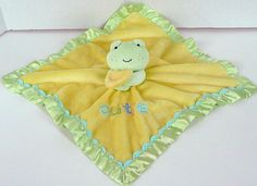 Carters Just One Year Frog Cutie Security Blanket Baby Lovey Green Yellow Rattle #JustOneYear