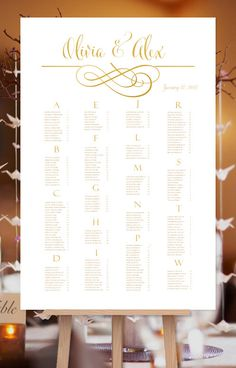 This calligraphic swirls design series reception seating plan features gold foil style graphics for the flourish design, borders, the names of the bride and groom and the alpha heading characters. The guest names will be in flat gold for readability. This reception seating poster