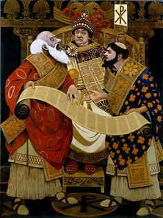 """""""Justinian with his Lawyers, Tribonian and Theophilus"""", George Schmidt"""