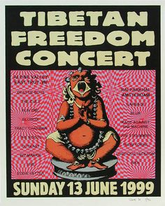 Steve Walters (Screwball Press) Tibetan Freedom Concert Poster Beastie Boys Garbage Blur Joe Strummer Rage Against The Machine Outkast RUN DMC Tracy Chapman The Cult Thom Yorke Blondie Eddie Vedder The Roots Biz Markie Live Luscious Jackson NRA  Alpine Valley 6/13/1999 Artist: Steve Walters (Screwball Press) Silkscreen Edition of 92 16 x 20 inches