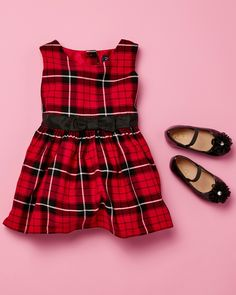 Toddler fashion | Kids' clothes | Plaid dress | Ballet flats | Holiday outfit | The Children's Place