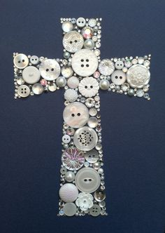 Cross button art: maybe I can do this with all those buttons I got of my…