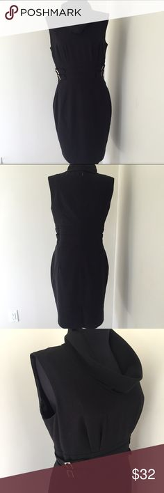 """Calvin Klein Black Dress. Chic. Calvin Klein Black Dress. Chic.  Waist 31"""". Hips 38"""". Bust 36"""".  Shoulder to hem 38"""".  Zipper sticks a little bit at waist but has no actual problem. Very good condition.  Cowl neckline scoops down about 6"""" in front which is a little hard to see in listing pictures.  Gorgeous Calvin Klein Dresses"""
