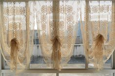 Country Style Cotton Line Full Crochet Balloon Shade Sheer Curtain #Country