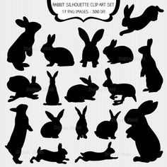 Rabbit silhouette clip art set – 17 high quality dpi) PNG printable digital elements perfect for scrapbooking, card making, invitations, graphic design etc. All elements are on a transparent background. Personal and small commercial use for your Rabbit Silhouette, Silhouette Clip Art, Silhouette Studio, Silhouette Painting, Ideas Scrapbook, Scrapbook Paper, Scrapbooking, Elements Of Art, Grafik Design