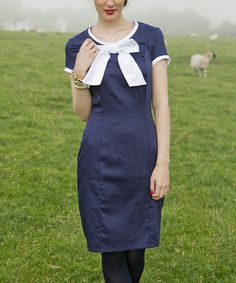 Love this Blue & White Haddington Bow Dress on #zulily! #zulilyfinds