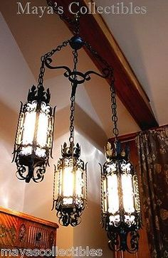 Gothic-Spanish-Revival-Wrought-Iron-Chandelier-Light-Fixture-Arts-Crafts