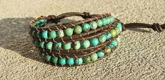 Handmade Leather Wrap Bracelet  Turquoise beads by DesignsbyMindy, $42.00