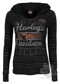 Harley-Davidson Womens I Wanna Ride Burnout with Hood Black Long Sleeve T-Shirt - XS Harley-Davidson (Womens)