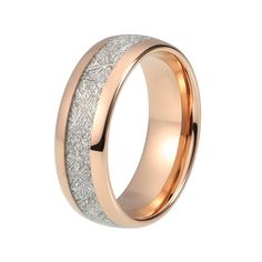 Meteorite Tungsten Wedding Band in Rose Gold Finish
