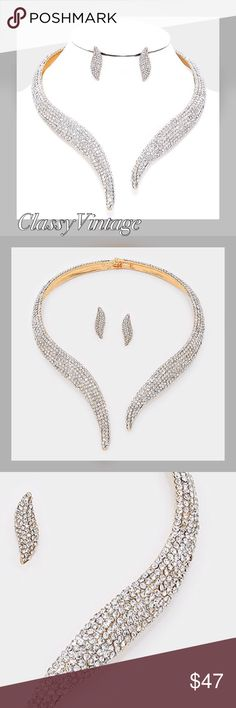 Captivating elegance Diamond encrusted choker Stunning pave' choker and earrings. Goldtone metal and light catching faux diamonds. Necklace has open front and earrings are pierced Jewelry Necklaces