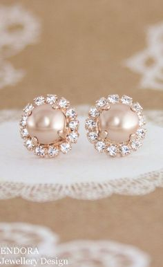 awesome rose gold pearl earrings,rose gold wedding jewelry,rose gold earrings.rose gold bridal earrings,rose gold stud pearl earrings,pearl earrings